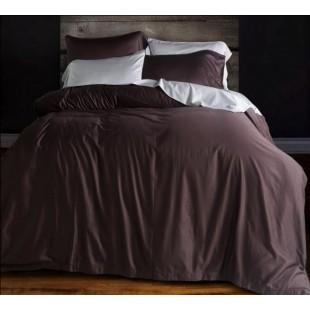 Однотонное постельное белье шоколадного цвета сатин