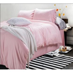 Однотонное постельное белье нежно-розового оттенка сатин