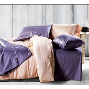 Однотонное постельное белье персикового цвета сатин
