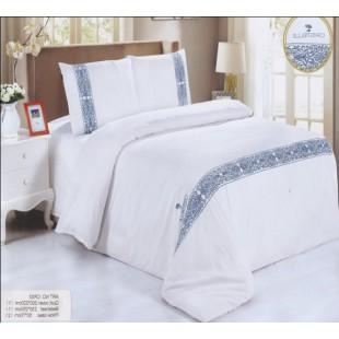 Постельное белье белого цвета с синей вышивкой - аппликацией сатин