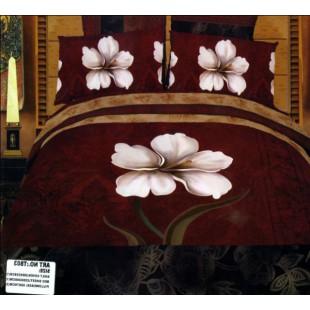 Постельное белье бордового цвета с белым цветком сатин