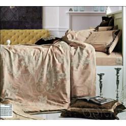 Набор элитного постельного с покрывалом - молочно-кофейная гамма - жаккард/сатин