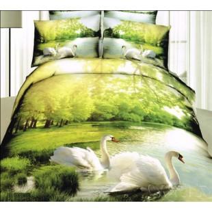 3D постельное белье с белыми лебедями на фоне озера в парке - сатин