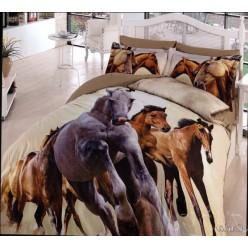 Светлое сатиновое постельное белье с лошадьми марки First Choice 3D