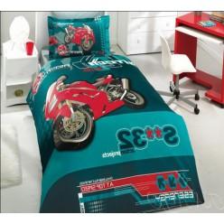 Изумрудное постельное белье с красным мотоциклом для подростка