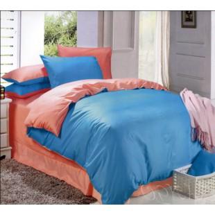 Постельное белье двухцветное - персик и синий