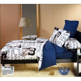 Постельное белье - Влюбленная пара с надписями белое с синим