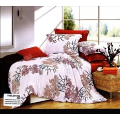 Постельное белье светлое с красным в японском стиле из сатина