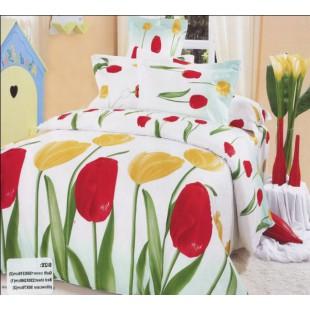 Постельное белье с желтыми и красными тюльпанами на белом фоне - сатин 3D