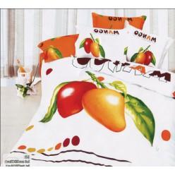 Красное и желтое манго на белом