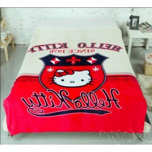 Плед с Hello Kitty белый с красным - стиль Old School