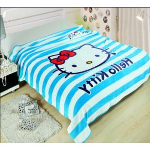 Плед полосатый с Hello Kitty бело-голубой