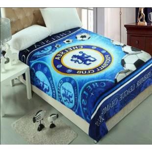 Плед Chelsea синего цвета на футбольную тему