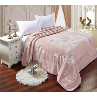 Плед нежно-розовый с принтом розы - размер евро
