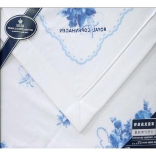 Плед из натурального хлопка бело-голубой подарочный