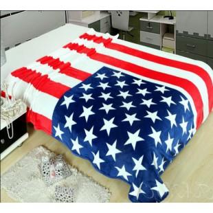 Плед с американским флагом из микрофибры