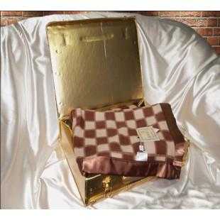 Плед из натурального шелка шоколадно-молочный - Шахматка