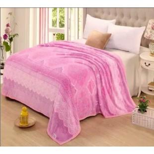 Плед в розово-фиолетовой гамме восточный - фланель