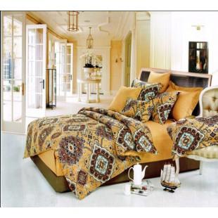 Горчичное постельное белье с шоколадным принтом из сатина