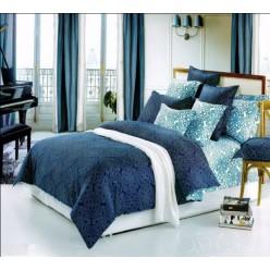 Сине-голубое с орнаментом - сатин