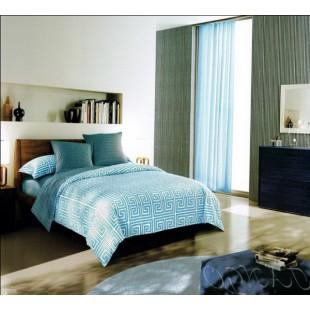 Бирюзово-голубая геометрия - сатиновое постельное белье