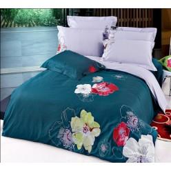 Постельное белье deluxe серо-синее с вышивкой цветы