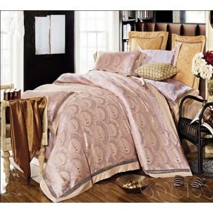 Бежево-серое постельное белье из жаккарда с принтом Dior