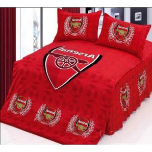 Красное постельное белье с логотипом ФК Арсенал - сатин
