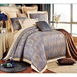Брендовое постельное белье из жаккарда Hermes сливочно-синего цвета