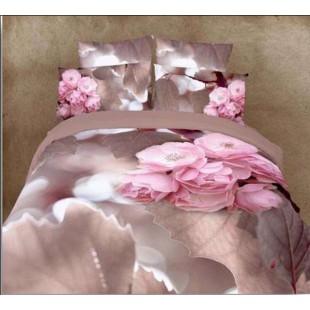 Постельное белье - Листья аурелии 3D сатин нежно-фиолетового цвета