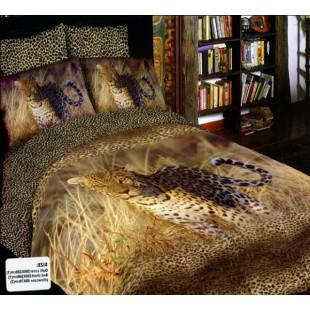 Постельное белье - Леопард в траве 3D сатин в коричневых тонах