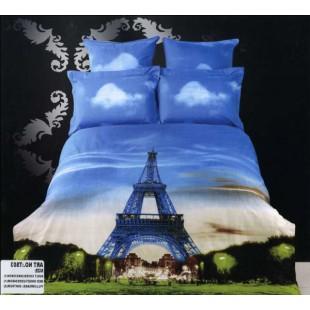 Постельное белье - Окно на Эйфелеву башню 3D принт сатин