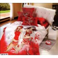 Яркое бело-красное постельное белье из сатина с девушками