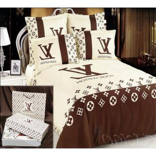 Постельное белье - Louis Vuitton с монограммой сатин бежево-коричневого цвета