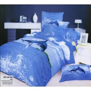 Постельное белье - Дельфины над водой 3D сатин голубого цвета