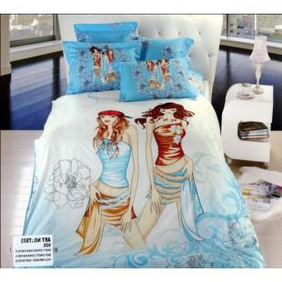 Постельное белье - Волшебные девушки сатин бело-голубого цвета
