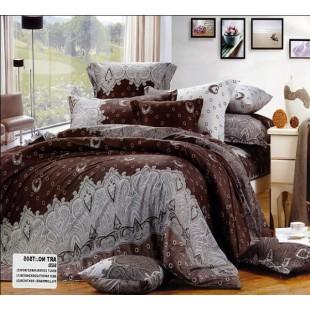 Постельное белье коричневое с серым орнаментом - Орлэнда