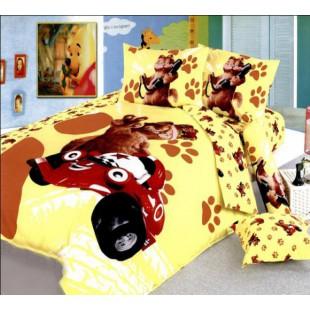 Постельное белье желтого цвета с отпечатками кошачьих лапок - Гарфилд