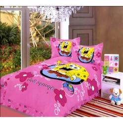 Постельное белье со Спанч Бобом розовое для девочек