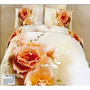 Постельное белье - Персиковые розы 3D кремового цвета