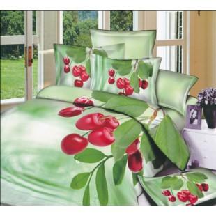 Постельное белье – 3D Вишня на светло-зеленом фоне сатин