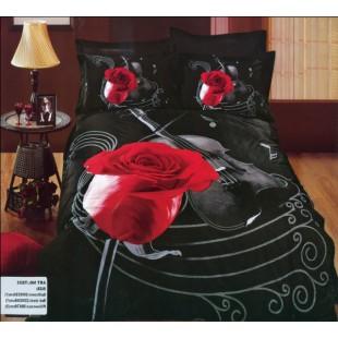 Постельное белье - Красная роза и виолончель 3D сатин