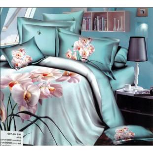 Нежно-голубое постельное белье с орхидеями - Белла