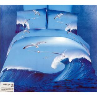 Постельное белье - Чайки над морскими волнами 3D сатин