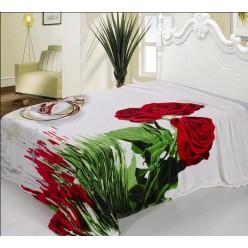 Плед белый на свадьбу с розами и обручальными кольцами