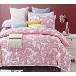 Постельное белье белое с розовым цветочным орнаментом - сатин делюкс