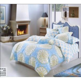 Голубое постельное белье с бежевыми кругами из фланели