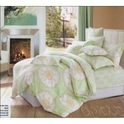 Светло-мятное постельное белье с узором круги - фланель