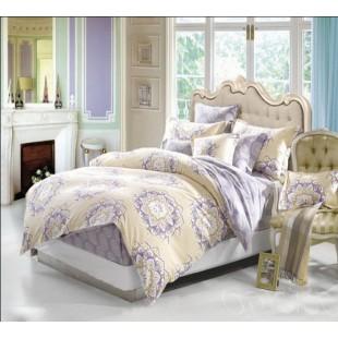Желто-фиолетовое постельное белье из фланели с абстрактным принтом