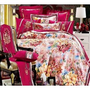 Великолепный гобеленовый комплект белья бордовая гамма с цветочным принтом